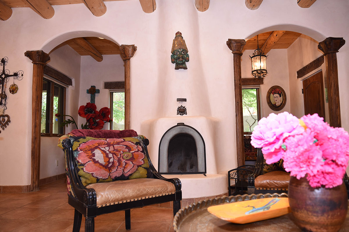 Taos Villas-NM2-fireplace,-dining-and-foyer